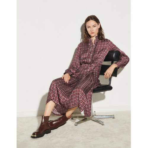 산드로 원피스 Sandro Langes Kleid mit Print und Volants Bordeaux