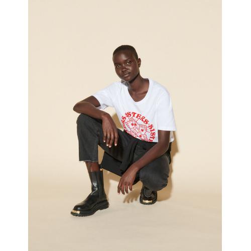 산드로 티셔츠 Sandro T-Shirt mit kontrastierendem Print Weiss