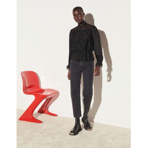 산드로 셔츠 Sandro Bimaterial-Top mit elastischem Schoesschen Schwarz