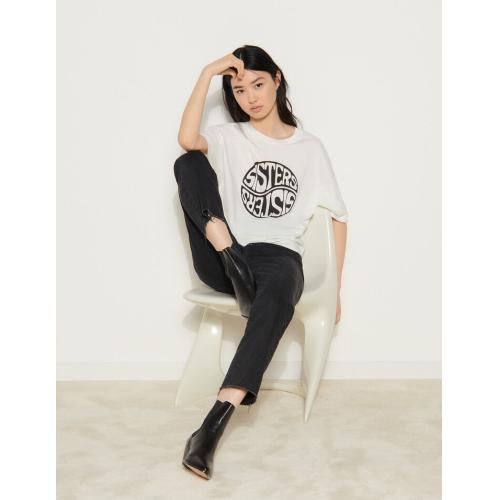 산드로 티셔츠 Sandro T-Shirt mit kontrastierendem Schriftzug Weiss