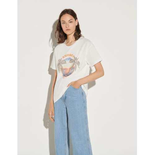 산드로 티셔츠 Sandro Bedrucktes T-Shirt mit Strassverzierung Weiss