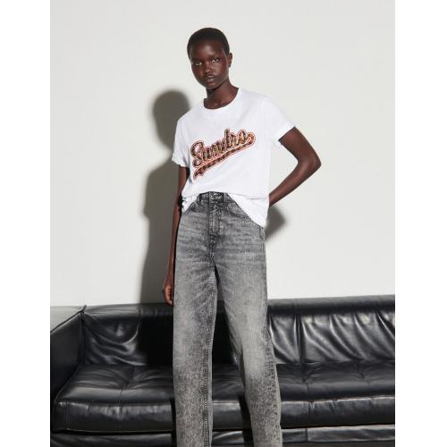 산드로 티셔츠 Sandro T-Shirt mit Print Weiss