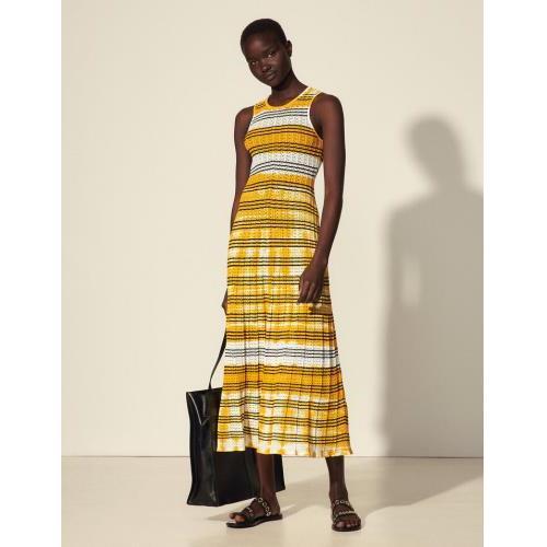 산드로 스트라이프 타이다이 니트 원피스 (최유정 착용) Sandro Gestreiftes Tie-&-Dye-Kleid SFPRO01736 Ecru / Jaune