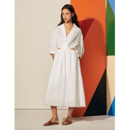 산드로 원피스 Sandro Langes Kleid mit Seitenoeffnungen SFPRO01808 Ecru