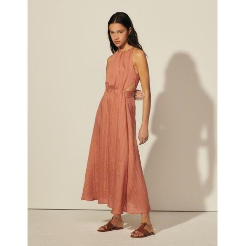 산드로 원피스 Sandro Langes Kleid mit Streifen SFPRO01854 Marron