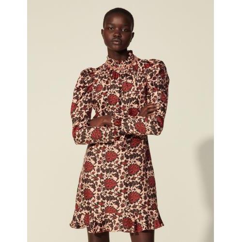 21SS 산드로 플로럴 러플 원피스 (손담비 착용) Sandro Kurzes Kleid aus Seide mit Print SFPRO01524 Rosa/Rot
