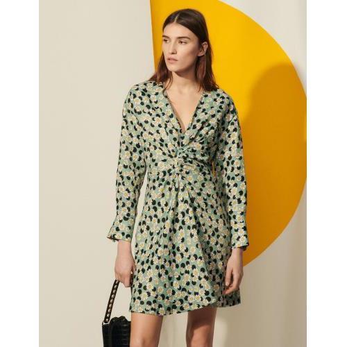 산드로 원피스 Sandro Kurzes Kleid mit Print und Raffungen SFPRO01647 Vert / Noir