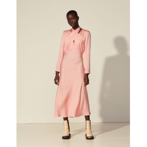 산드로 원피스 Sandro Langes Kleid mit drapiertem Ausschnitt SFPRO01498 Rosa