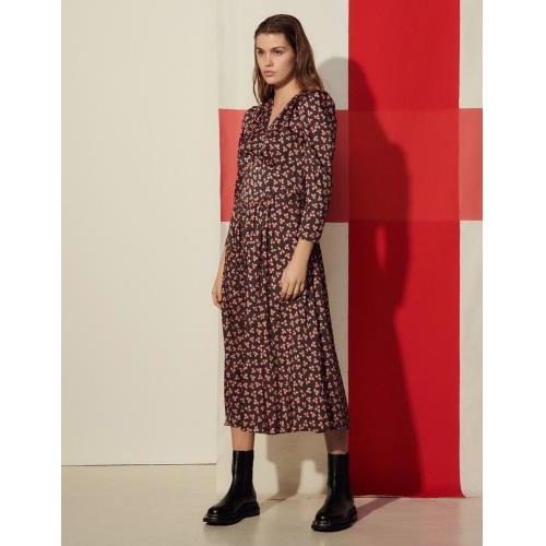 산드로 원피스 Sandro Langes Kleid mit Print SFPRO01504 Noir / Rose