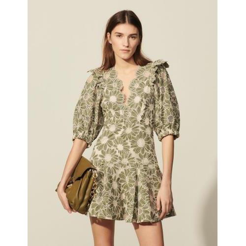 산드로 원피스 Sandro Kurzes Kleid aus besticktem Stoff SFPRO01650 Khaki