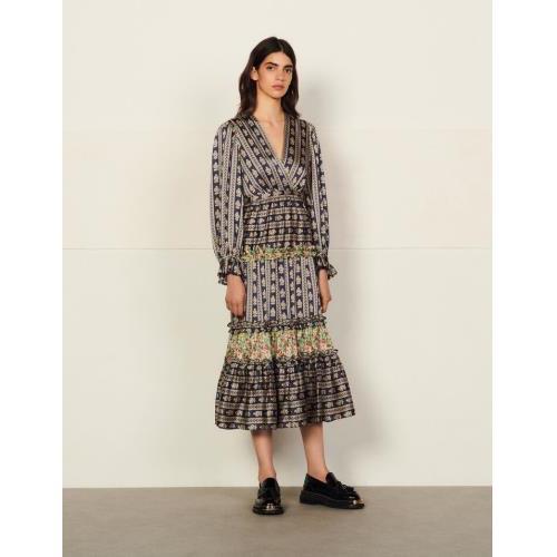산드로 원피스 Sandro Langes Kleid mit Print-Mix SFPRO01917 Beige / Bleu