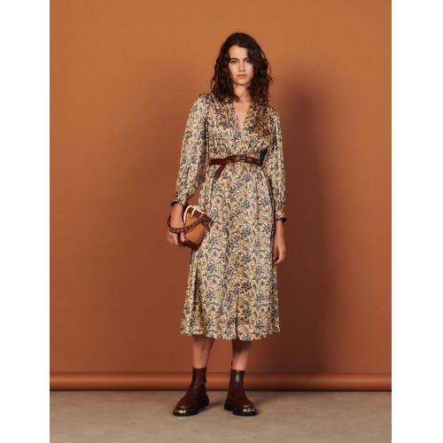 산드로 원피스 Sandro Langes fliessendes Kleid mit Print SFPRO01996 Dore / Bleu