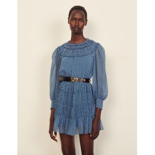 산드로 원피스 Sandro Kurzes Kleid mit Drapierung und Rueschen  SFPRO01911 Blau