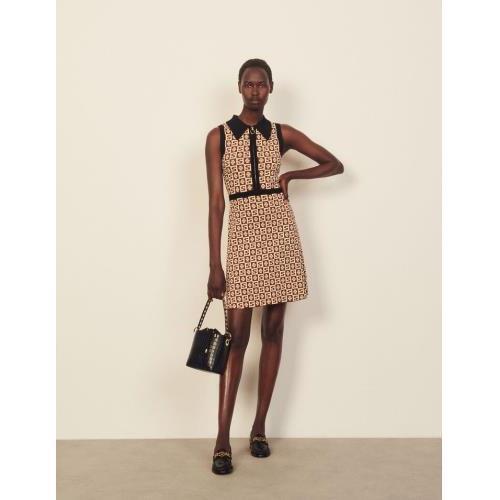 산드로 원피스 Sandro AErmelloses Kleid mit Jacquard-Motiv SFPRO01952 Marron - beige