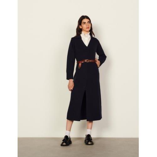 산드로 원피스 Sandro Langes Kleid mit Matrosenkragen SFPRO01967 Navy