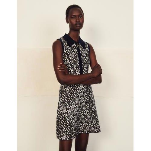 산드로 원피스 Sandro AErmelloses Kleid mit Jacquard-Motiv SFPRO01885 Marine / Blanc