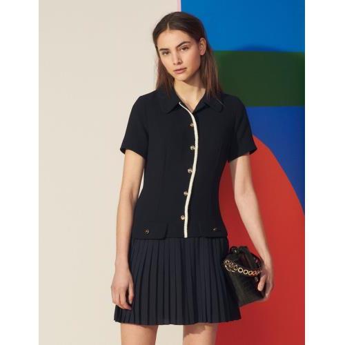 산드로 원피스 Sandro Plissiertes Kleid aus Materialmix SFPRO01638 Marine