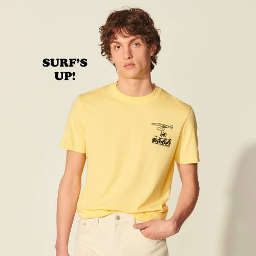 산드로 옴므 X 스누피 콜라보 티셔츠 - 옐로우 Sandro T-shirt Snoopy en coton biologique SHPTS00872
