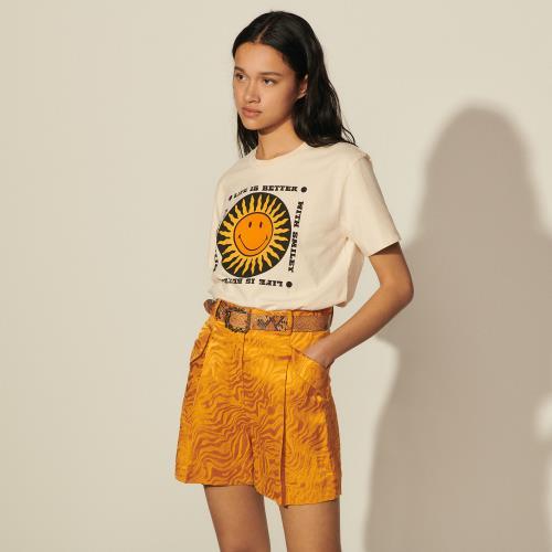 산드로 Sandro Smiley T-shirt en coton SFPTS00800 Vanille - T