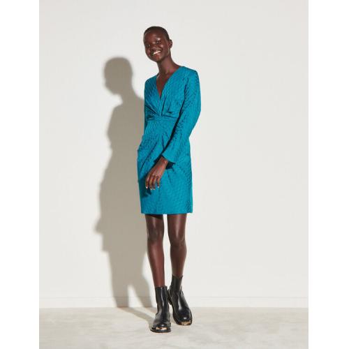 산드로 원피스 Sandro Short dress in double S jacquard,Pétrol Blue