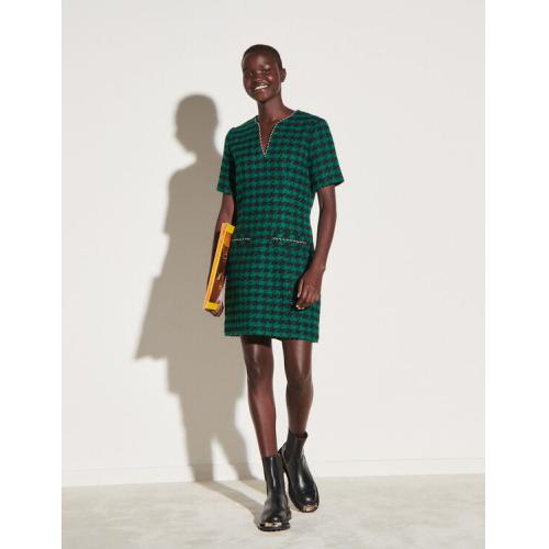 산드로 트위드 원피스 Sandro Short tweed dress with braid trim,Green / Black