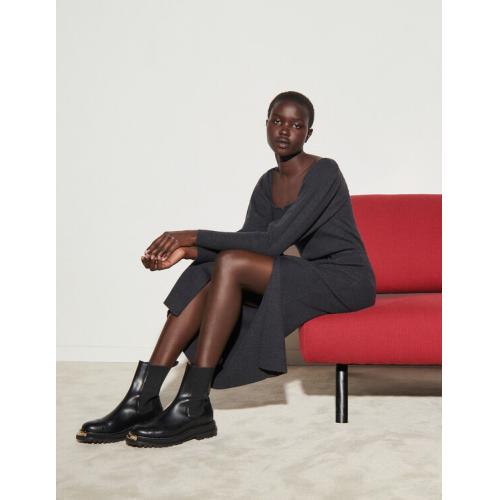 산드로 니트 원피스 Sandro Knit dress with slit,Charcoal Grey