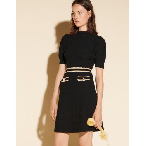 산드로 원피스 Sandro Houndstooth jacquard dress,Black