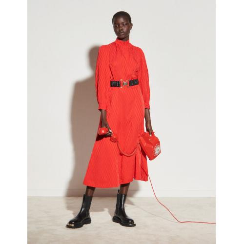 산드로 원피스 Sandro Jacquard midi dress,Red