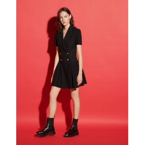 산드로 트위드 코트 원피스 Sandro Short tweed coat dress,Black