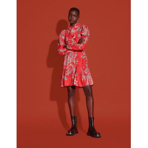 산드로 원피스 Sandro Short printed dress with draped neckline,Red