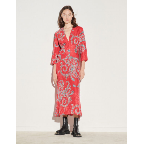 산드로 원피스 Sandro Printed midi dress,Red