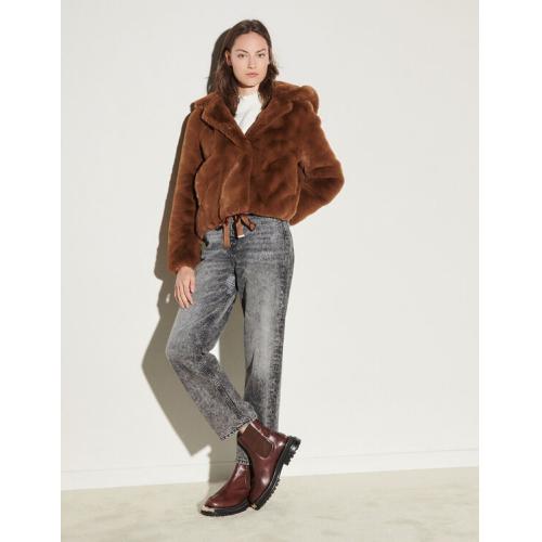 산드로 에코퍼 숏 코트 - 브라운 Sandro SFPOU00275 Short faux fur coat