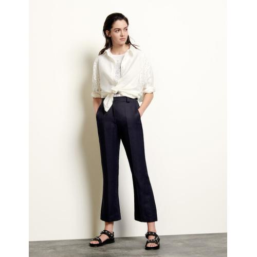 산드로 스트레이트 레그 바지 Sandro Straight-leg pants with pleats,Navy Blue