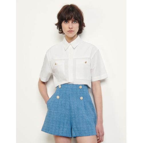 산드로 청반바지 Sandro Jacquard denim shorts,Blue Jean