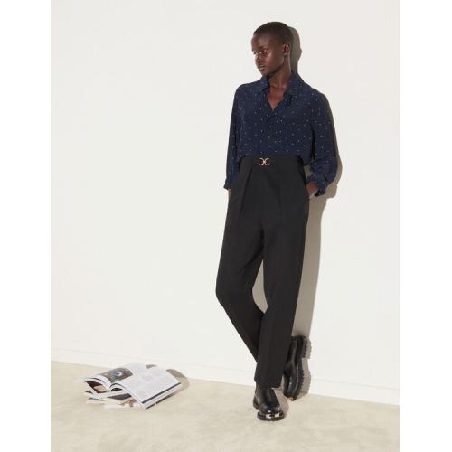 산드로 바지 Sandro High-waisted fitted pants,Black
