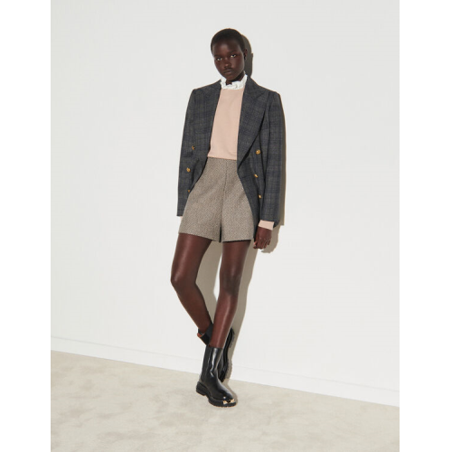 산드로 반바지 Sandro Herringbone weave shorts with sequins,Beige / Grey