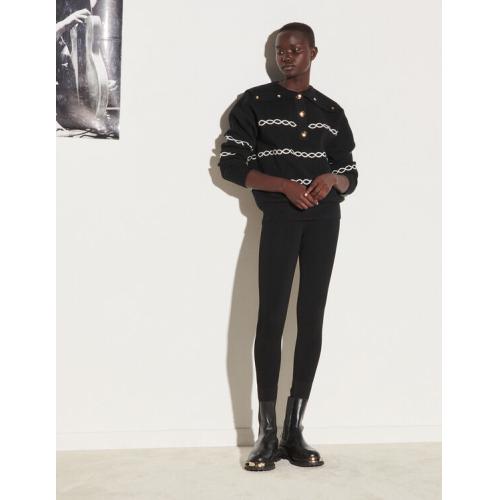 산드로 레깅스 Sandro High-waisted leggings,Black