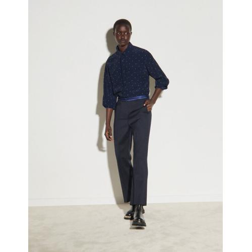 산드로 스트레이트 바지 Sandro Straight-leg pants with braid trims,Navy Blue