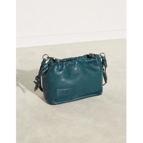 산드로 버킷백 Sandro Grained leather bucket bag,Bottle Green