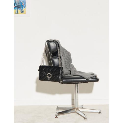 산드로 이자백 Sandro Yza quilted leather bag,Black