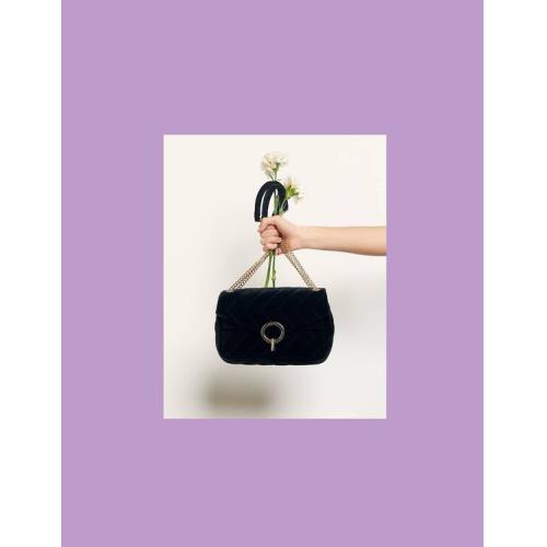 산드로 이자백 Sandro Yza quilted velvet bag,Black