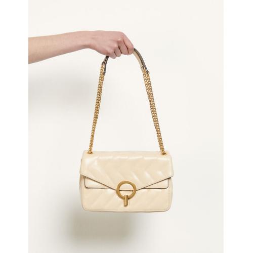 산드로 이자백 Sandro Yza quilted leather bag,Beige