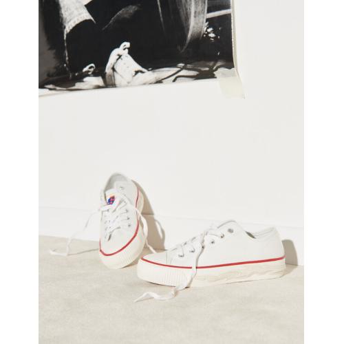 산드로 스니커즈 Sandro Canvas sneakers with flame sole,white