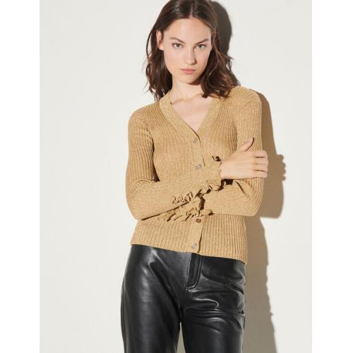 산드로 루렉스 니트 가디건 (오윤아 착용) Sandro Lurex knit cardigan,Gold