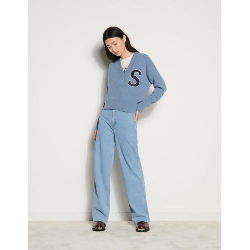 산드로 Sandro V-neck wool sweater,Blue Grey