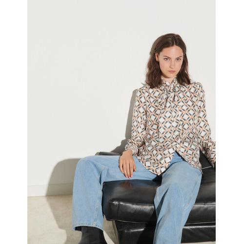 산드로 Sandro Printed silk twill shirt,Blanc / Marron