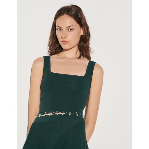 산드로 Sandro Knitted bra top with tassels,Bottle Green