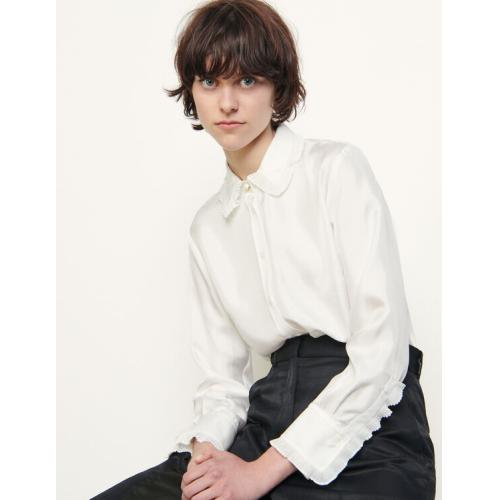 산드로 Sandro Silk shirt with pleated trim,Ecru