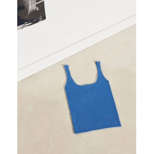 산드로 Sandro Ribbed knit cropped tank top,Blue