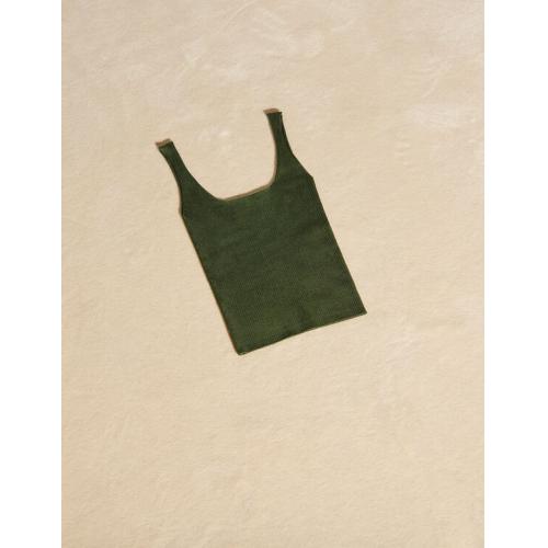 산드로 Sandro Ribbed knit cropped tank top,Olive Green